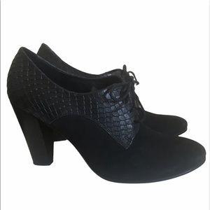 Ecco Exotic & Suede Oxford Heels